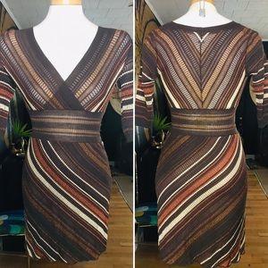 M MISSONI Brown Striped Knit Dress